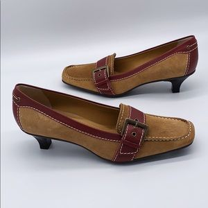 NWT Franco Sarto tan & burgundy suede kitten heels